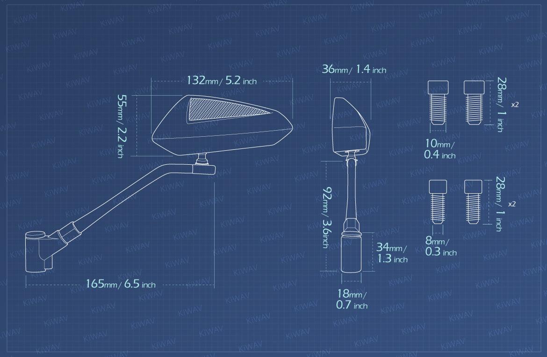 Measurement of KiWAV Scoot Black Mirrors For 8/10mm Metric mirror thread Bikes
