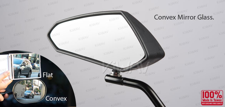KiWAV motorcycle mirrors Scoot black for 8/10mm metric mirror thread bikes
