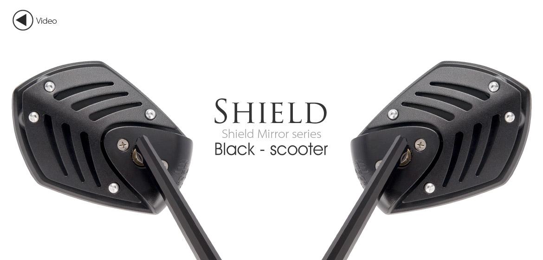 KiWAV Shield black motorcycle mirrors scooter fit Magazi