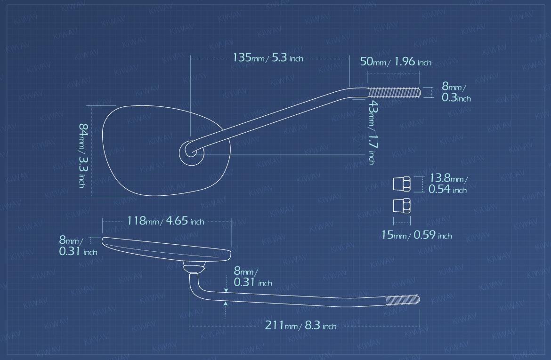 Measurement of KiWAV motorcycle mirrors Stan square headlight ear mounted
