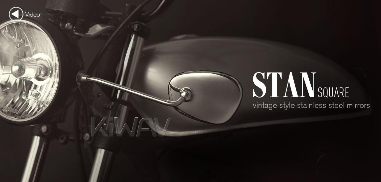 KiWAV stainless retro motorcycle mirrors Stan Square Albert style