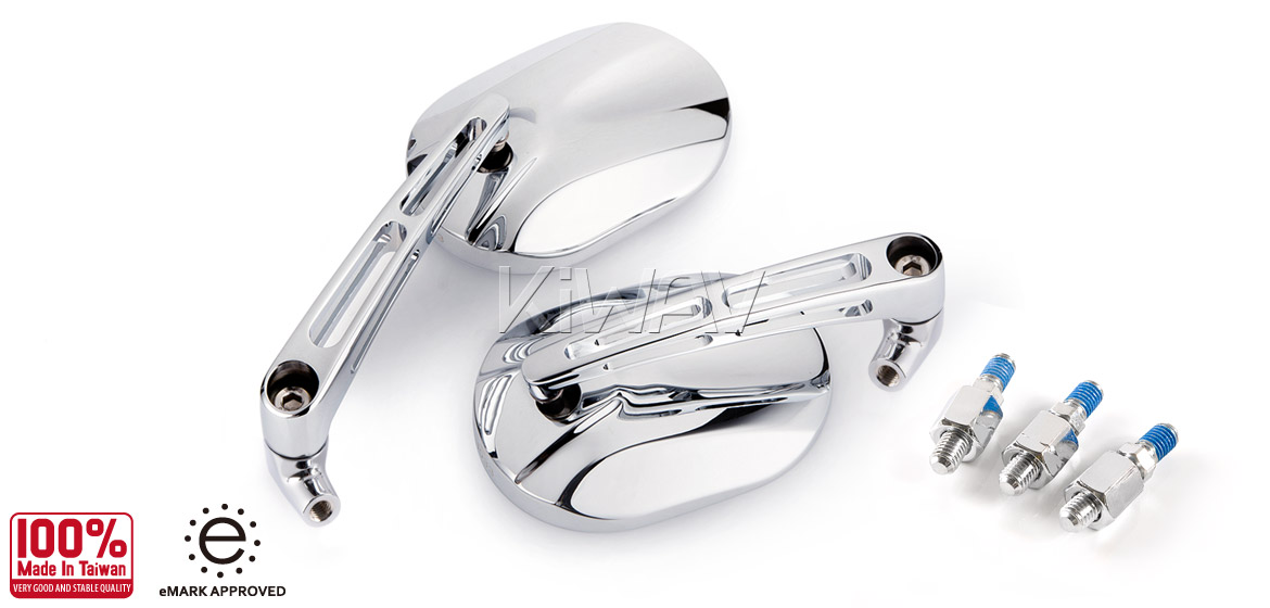 KiWAV motorcycle mirrors Stark chrome Scooter Magazi
