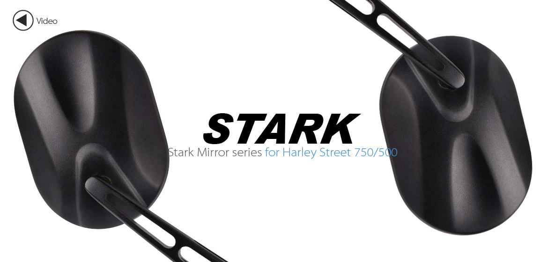 KiWAV motorcycle mirrors Stark black Harley Street 750 500 Magazi