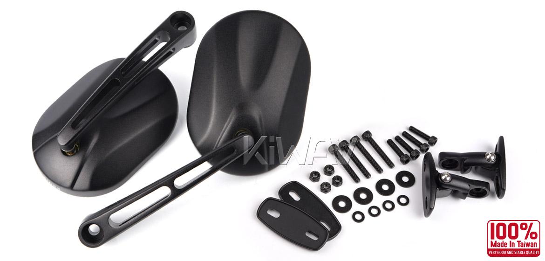 KiWAV motorcycle mirrors Stark black fairing mount w/ matte black adapter for sports bike Magazi