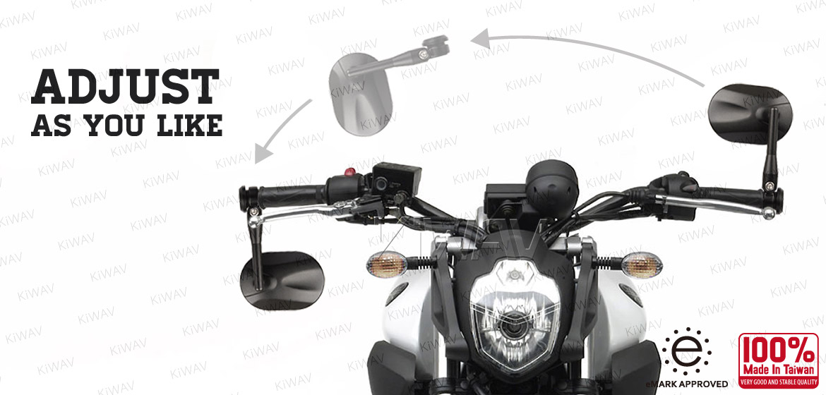KiWAV bar end mirrors Stark black universal fit w/ 8mm threaded or hollow bar motorcycle Magazi