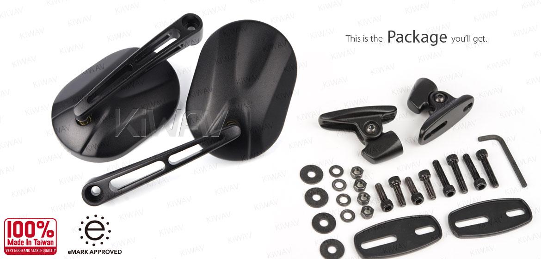KiWAV motorcycle Stark Black Sportsbike Mirrors With Black Base for sportsbike