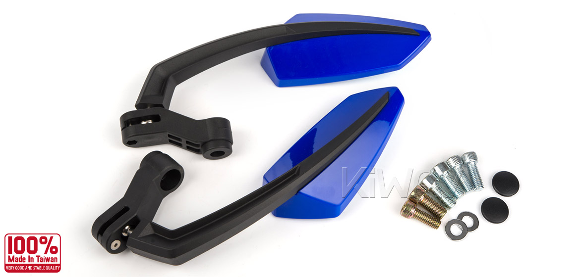 KiWAV Tulip blue motorcycle mirrors universal fit Magazi