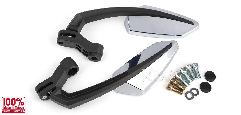 KiWAV Tulip chrome motorcycle mirrors universal fit Magazi