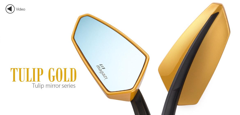 KiWAV Tulip gold motorcycle mirrors universal fit Magazi