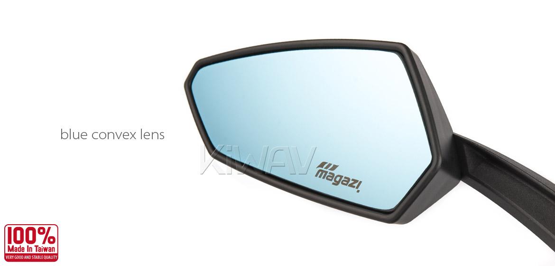 KiWAV Tulip matte black motorcycle mirrors universal fit Magazi
