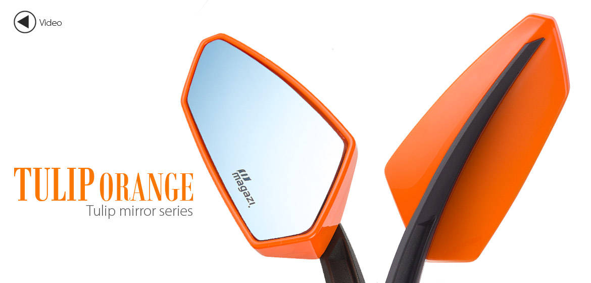 KiWAV Tulip orange motorcycle mirrors universal fit Magazi