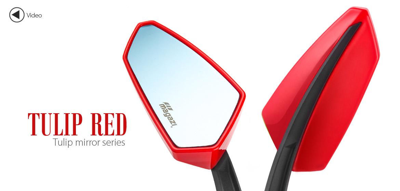 KiWAV Tulip red motorcycle mirrors universal fit Magazi