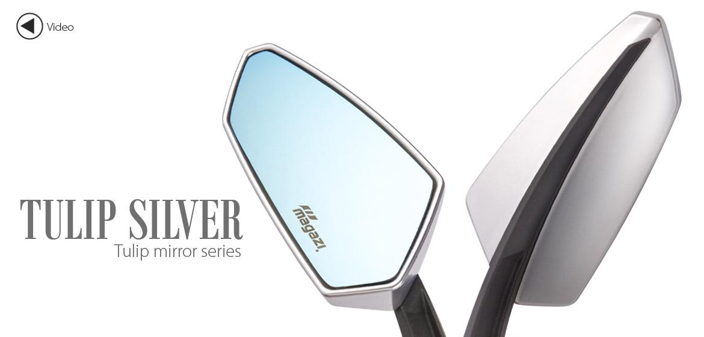 KiWAV Tulip silver motorcycle mirrors universal fit Magazi