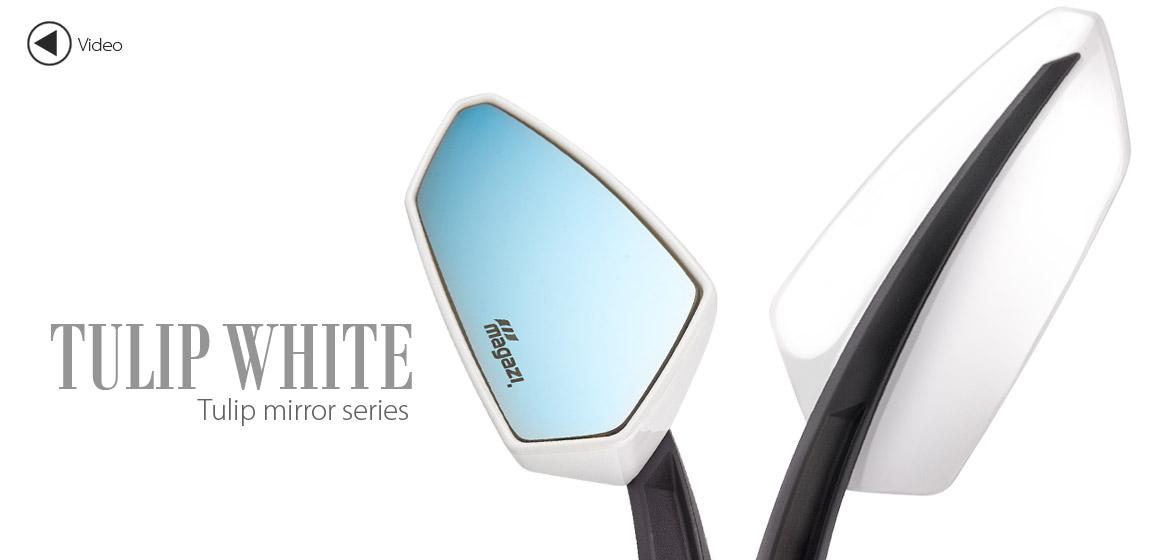 KiWAV Tulip white motorcycle mirrors universal fit Magazi