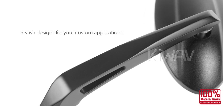 KiWAV motorcycle bar end mirrors Ultra black for most bikes w/ 1