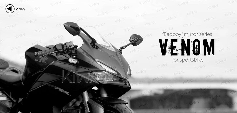 KiWAV motorcycle Venom Black Sportsbike Mirrors With Black Base for sportsbike