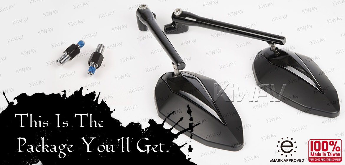 KiWAV motorcycle mirrors Venom black for BMW 10mm 1.5 pitch Magazi