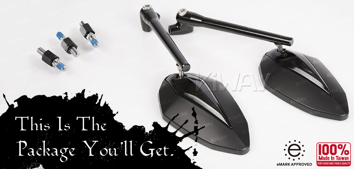 KiWAV motorcycle mirrors Venom black 8mm for scooter Magazi