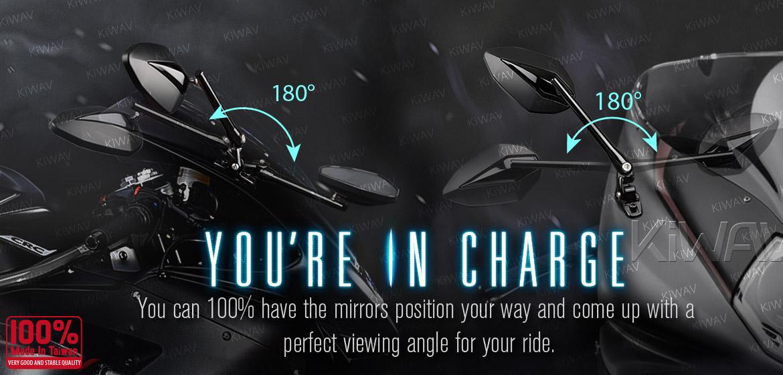 KiWAV motorcycle mirrors Venom black fairing mount w/ gloss black adapter for sports bike Magazi