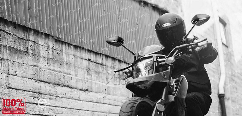 KiWAV motorcycle mirrors Venom black for Harley and Metric 10mm bikes Magazi