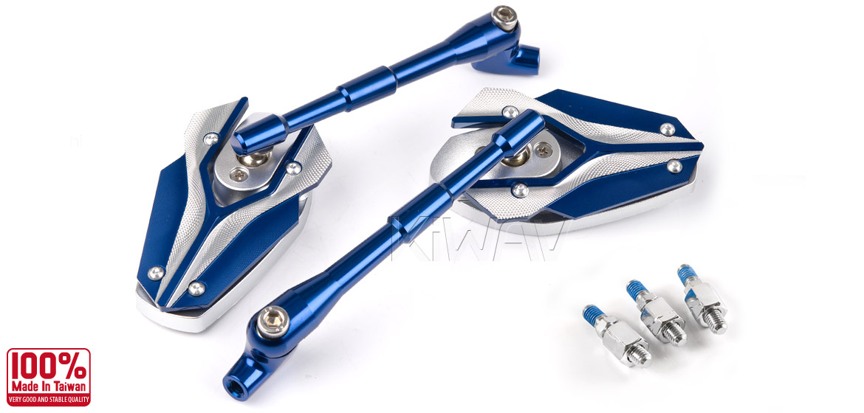 KiWAV Magazi Viper motorcycle mirrors Scooter blue