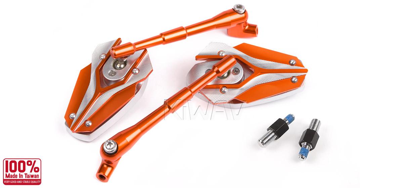 KiWAV Magazi Viper motorcycle mirrors BMW orange