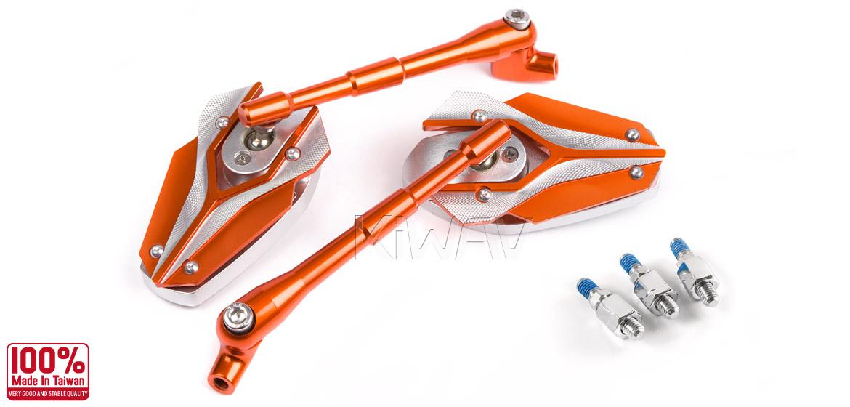 KiWAV Magazi Viper motorcycle mirrors Scooter orange