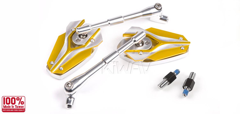 KiWAV Magazi Viper motorcycle mirrors BMW yellow