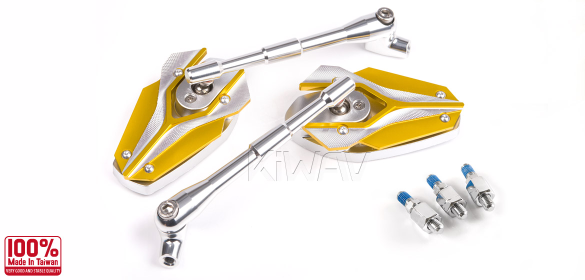 KiWAV Magazi Viper motorcycle mirrors Scooter yellow