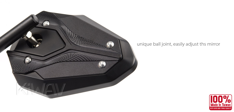 KiWAV motorcycle ViperII Black Sportsbike Mirrors With Black Base
