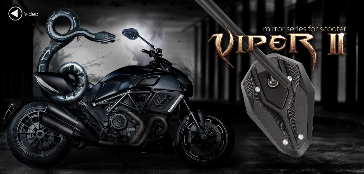 KiWAV ViperII Bblack motorcycle mirrors fit scooter