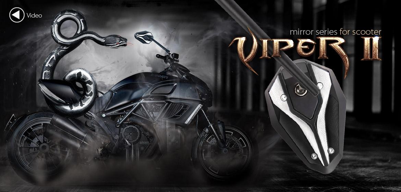KiWAV ViperII Sblack motorcycle mirrors fit scooter