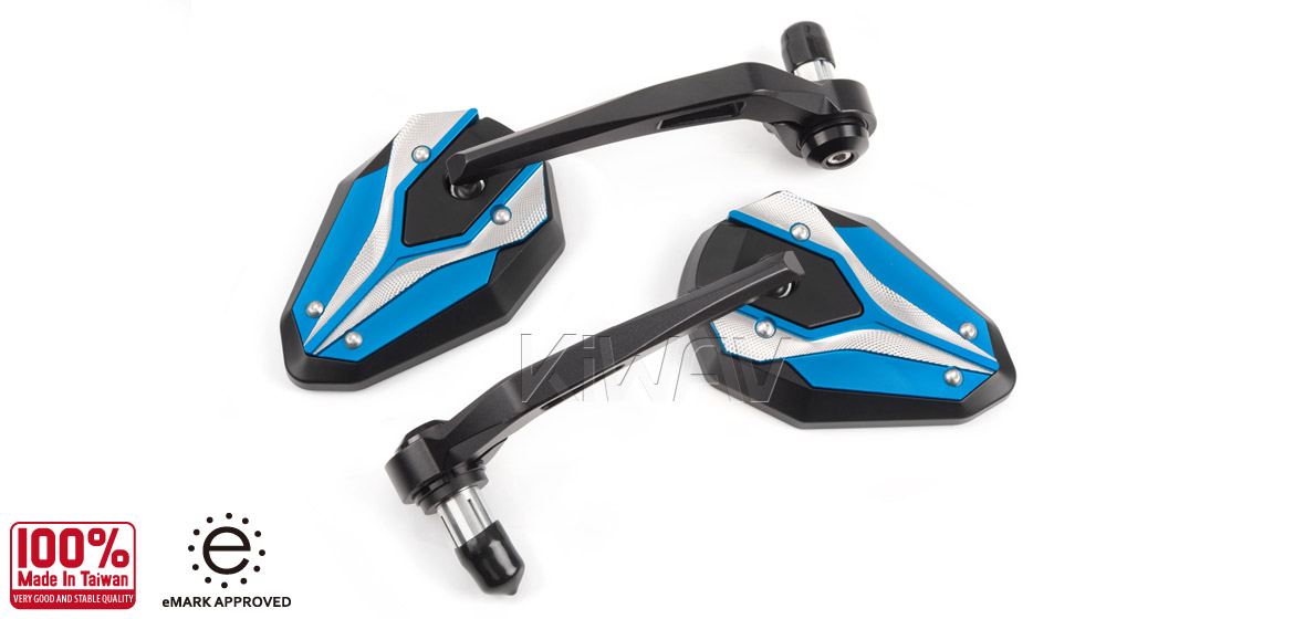 KiWAV motorcycle bar end mirrors ViperII Turquoise blue for most bikes w/ 1 or 7/8 bar Magazi