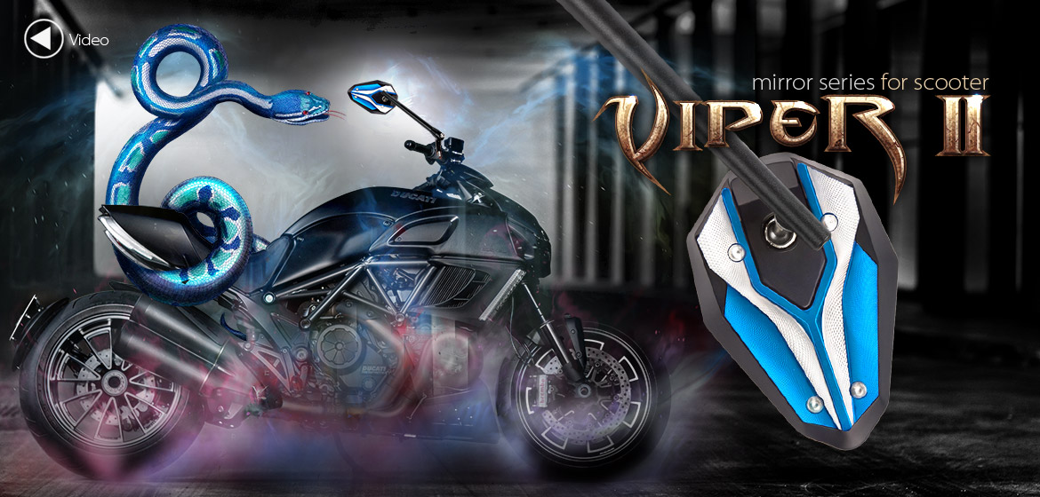 KiWAV ViperII Tblue motorcycle mirrors fit scooter