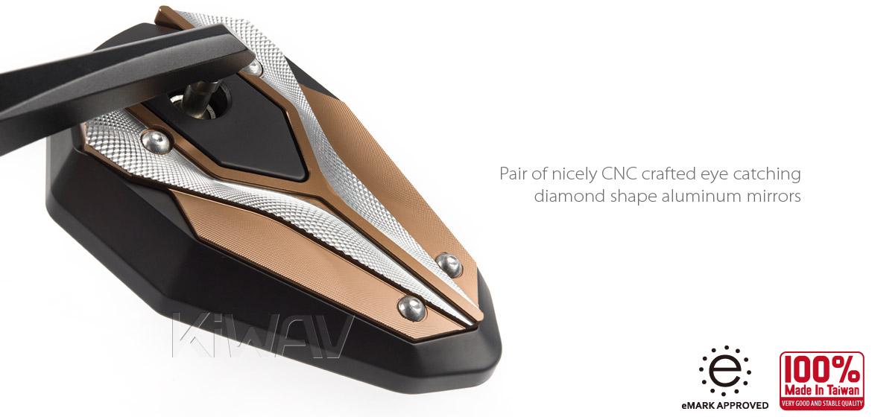 KiWAV motorcycle bar end mirrors ViperII titanium gold for most bikes w/ 1 or 7/8 bar Magazi