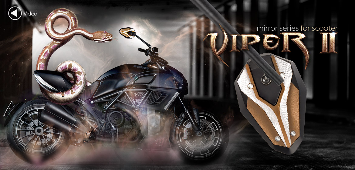 KiWAV ViperII Tgold motorcycle mirrors fit scooter