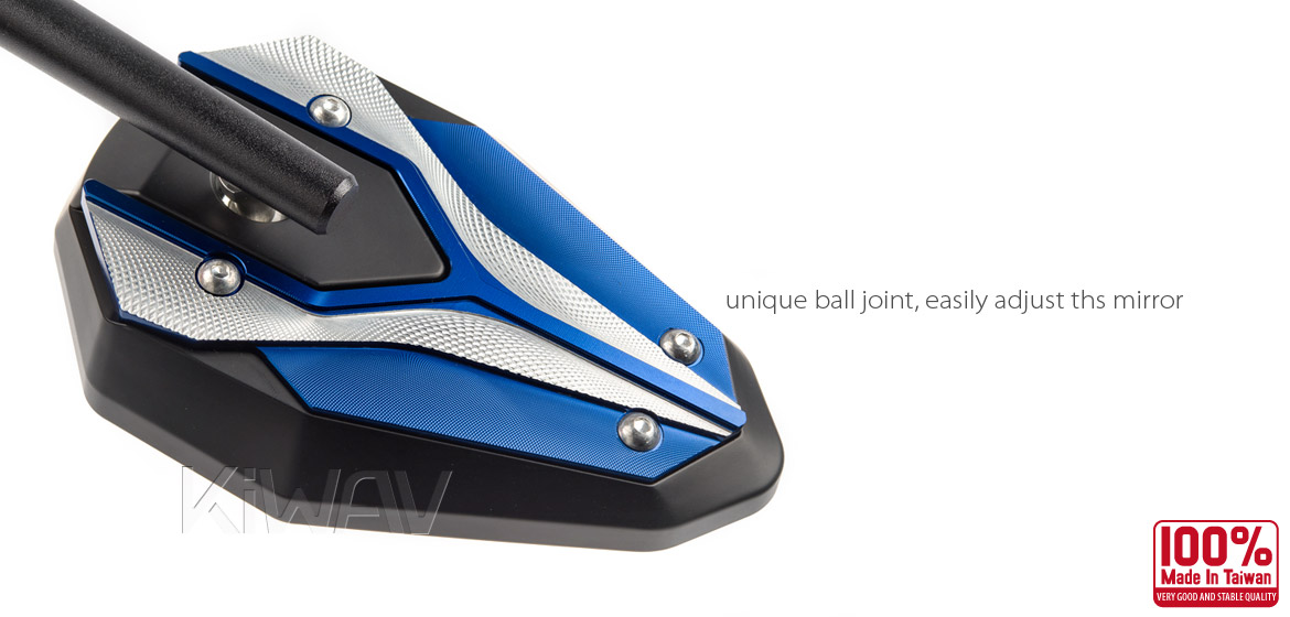 KiWAV ViperII blue motorcycle mirrors fit scooter