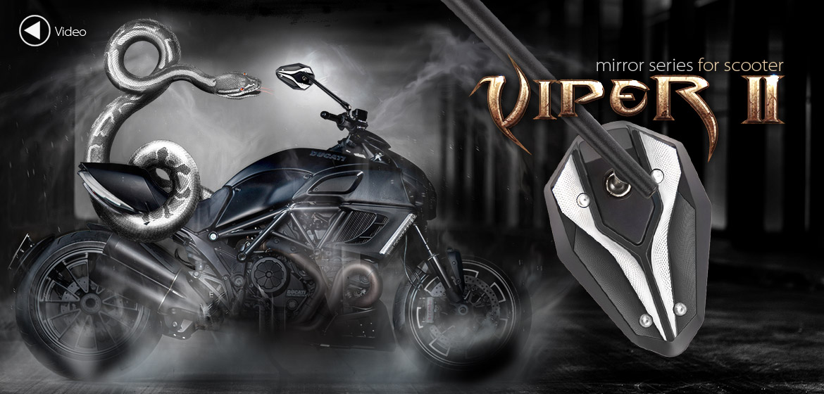 KiWAV ViperII gray motorcycle mirrors fit scooter