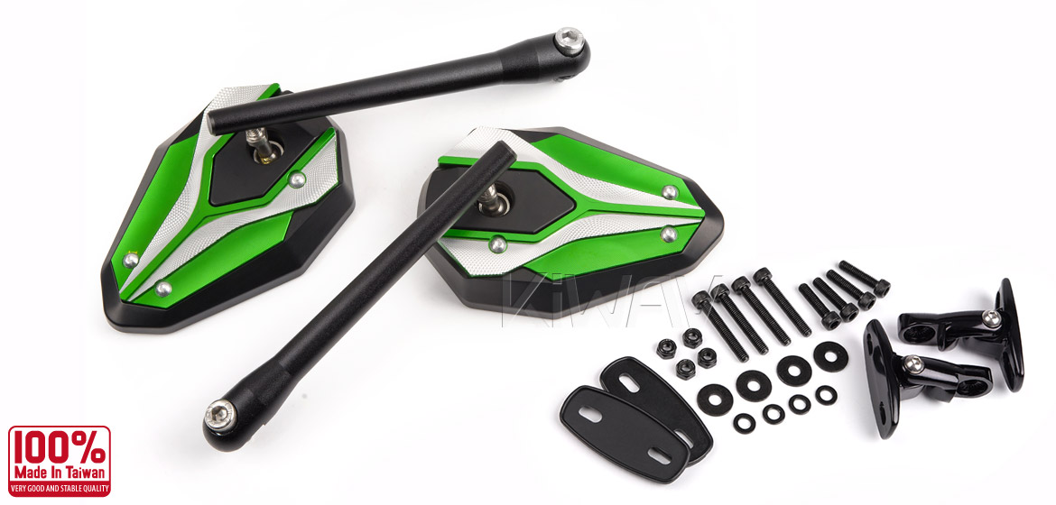 Magazi Viper II motorcycle mirrors green for sportsbike