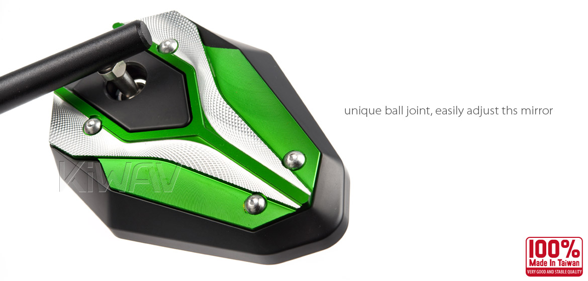 KiWAV ViperII green motorcycle mirrors fit scooter