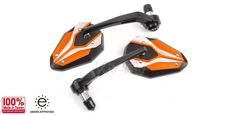 KiWAV motorcycle bar end mirrors ViperII orange for most bikes w/ 1 or 7/8 bar Magazi