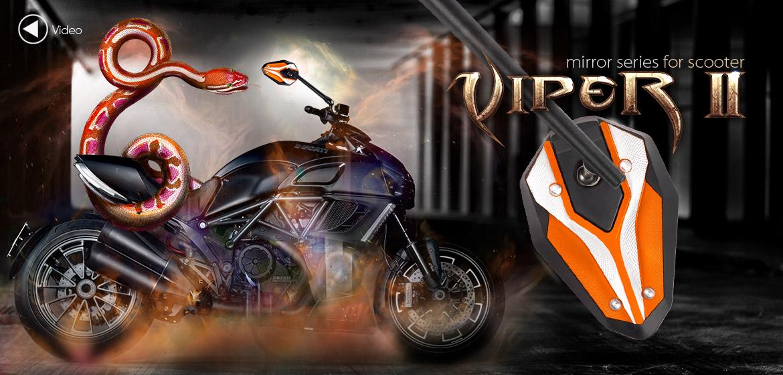 KiWAV ViperII orange motorcycle mirrors fit scooter