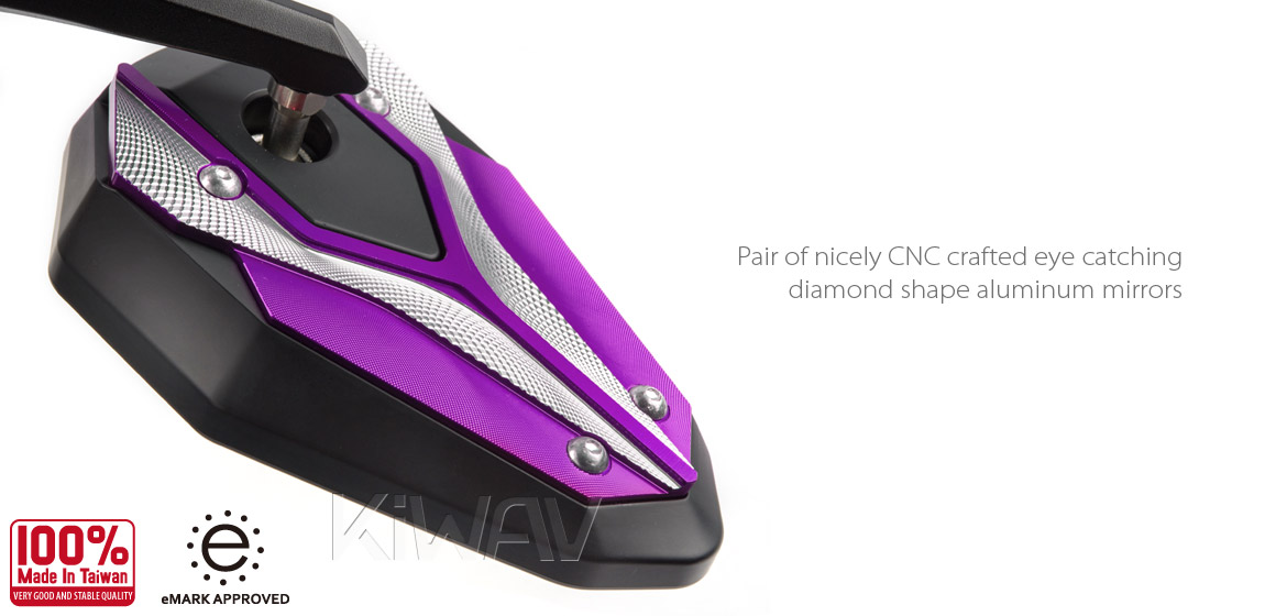 KiWAV motorcycle bar end mirrors ViperII purple for most bikes w/ 1 or 7/8 bar Magazi