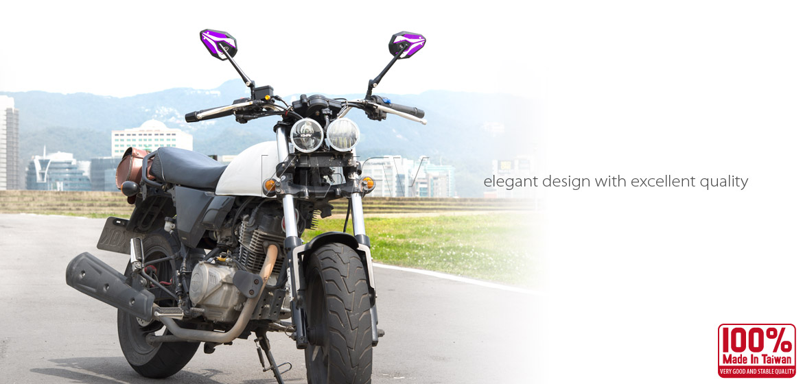 KiWAV ViperII purple motorcycle mirrors fit scooter
