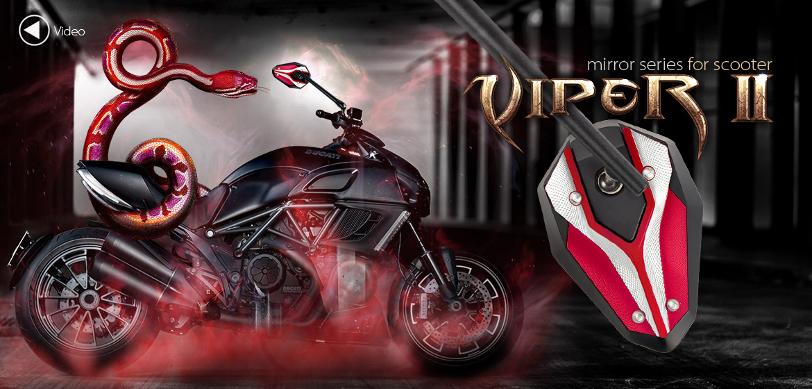 KiWAV ViperII red motorcycle mirrors fit scooter