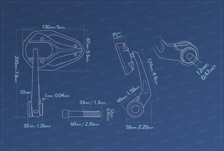 Measurement graph of KiWAV Viper2 bar end mirror for BMW