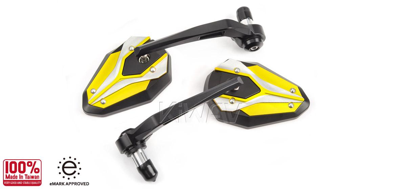 KiWAV motorcycle bar end mirrors ViperII yellow for most bikes w/ 1 or 7/8 bar Magazi