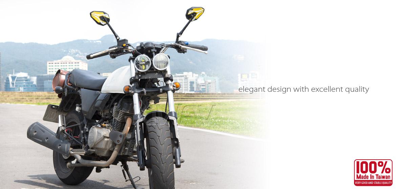 KiWAV ViperII yellow motorcycle mirrors universal fit