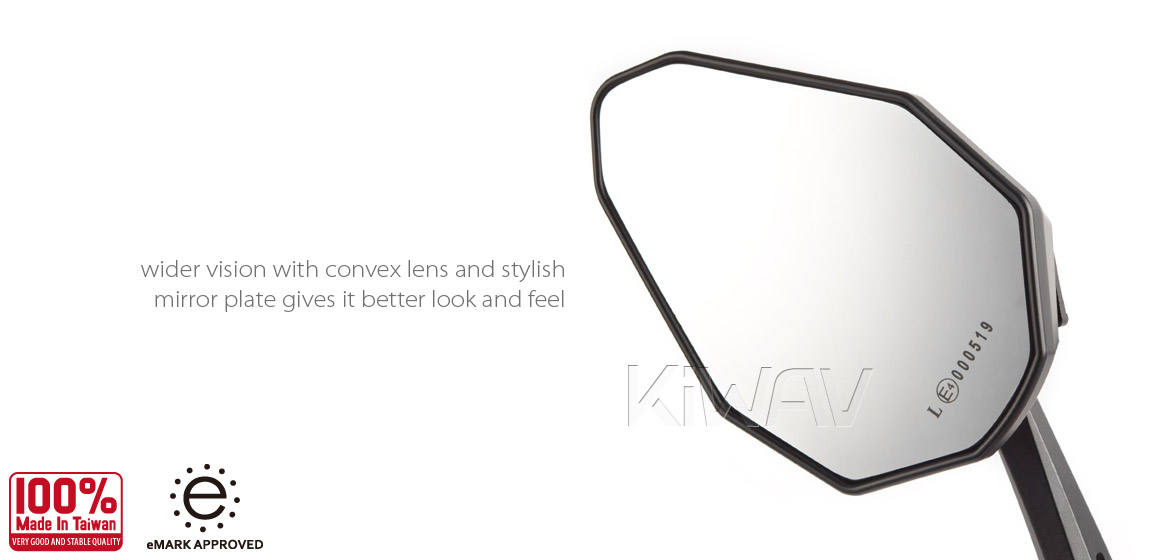 KiWAV motorcycle bar end mirrors ViperII silver black for M6 threaded