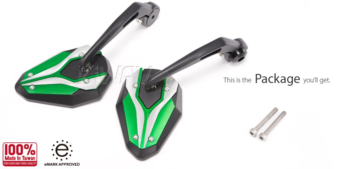 KiWAV motorcycle bar end mirrors ViperII green for M6 threaded